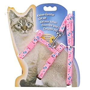 PSK Adjustable Cat Walking Harness Nylon Strap Collar with Leash,Cat Leash and Harness 1 Set Leash + Harness Design & Color May Vary