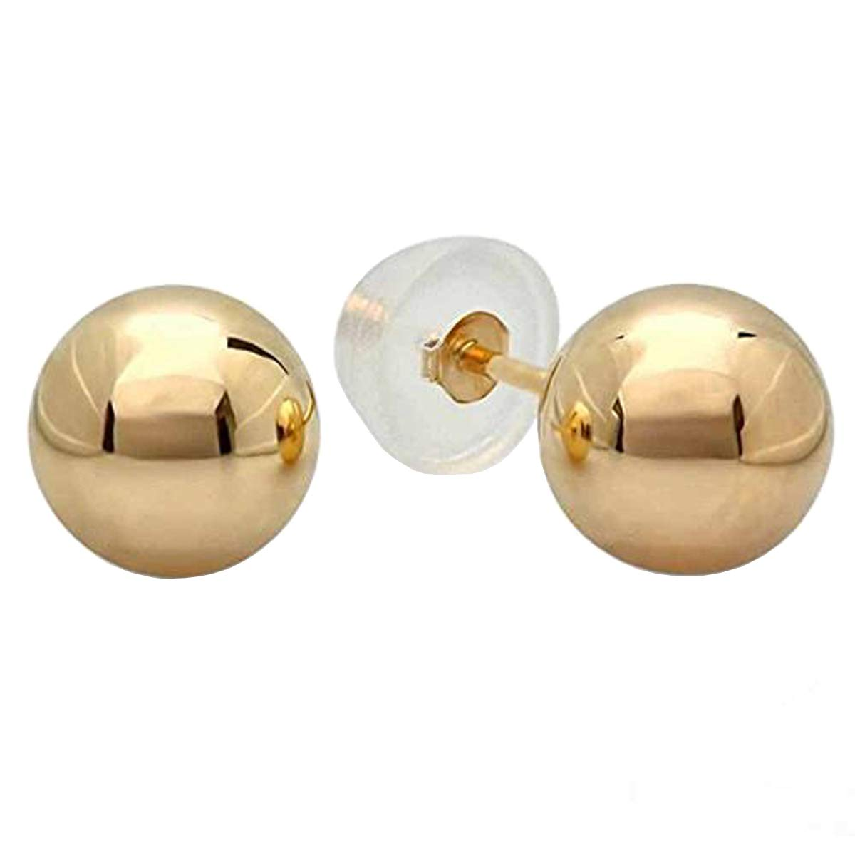 Dazzlingrock Collection 10k Ball 6mm Stud Earrings with Silicone covered Gold Pushbacks Yellow Gold