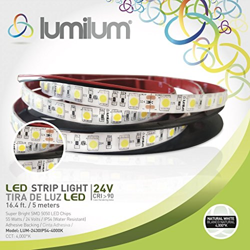 Lumilum 16,4ft (5m) LED Strip Light 24V Low Voltage Series (4000K Natural White) SMD 5050 chips, 95 High CRI, Fully Certified, 50,000 hours Tested, Dimmable, IP54 Rated, Indoor and Outdoor Use