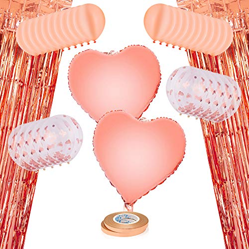 Rose Gold Confetti Balloons for Party - Giant Decoration Set with 20 12-inch Latex Balloons, 10 Confetti Balloons, 2 Heart Shaped Foil, 2 Foil Curtains, Ribbon. Premium Supplies for Birthday, Wedding -
