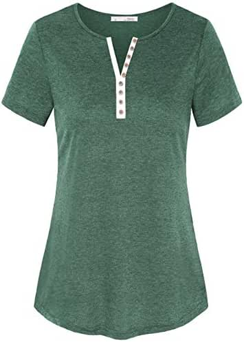 Messic Women's Basic Notch Neck Short Sleeve Henley T Shirt Tops