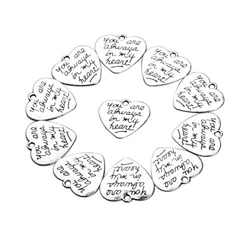Heart Charm Findings (20 Pieces You are Always in My Heart Lucky Charms Findings for Jewelry Pendant Necklace Making 22 X)