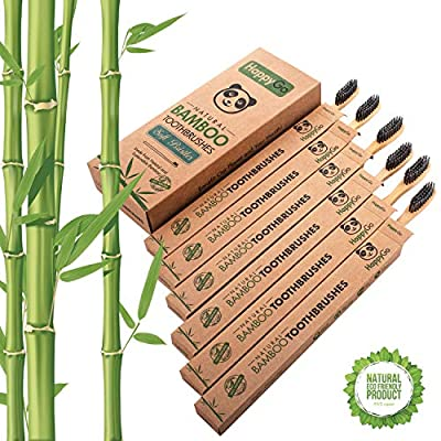 Natural Eco-Friendly Activated Charcoal Premium Bamboo Toothbrush | Pack of 6 | BPA Free Soft Bristle With Comfortable, Biodegradable Handle By HappyGoProduct