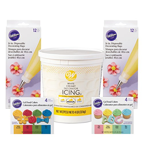 (Wilton Colorful Icing Kit for Decorating Cupcakes, Cookies, and Cakes - Decorator Icing, Piping Bags, and Gel Food Colors)