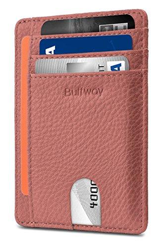 Slim Minimalist Leather Wallets for Men & Women - Lichee Pink