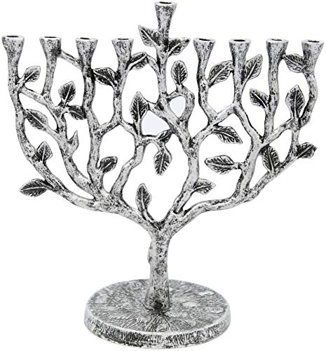 Hanukkah Menorah Tree of Life Antique Silver Finish ()
