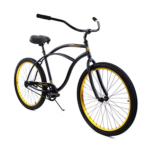 (Zycle Fix Men's Zf Bike-26 Single Speed Classic Beach Cruiser Bicycle, Black Gold, 17
