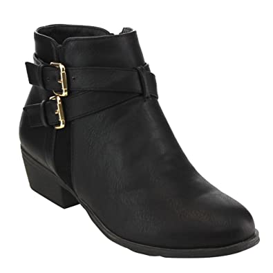Top Moda Women's Buckle Strap Low Chunky Ankle Booties Black 5
