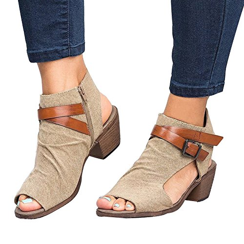 Low Khaki Cushioned Ankle Out Bootie Cut C Heel Womens Wedge Buckle Boots Maybest Strap Sandals 5A6qnw