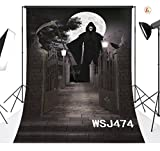LB 5x7ft Halloween Vinyl Photography Backdrop Huge Skull Man Horrible Yard Photo Background Studio Prop Customized WSJ474
