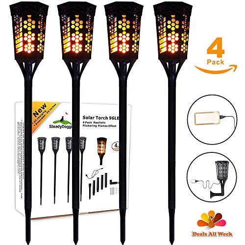 LED Tiki Torches Flickering Flame Solar Torch Landscaping Light Kit (4 Pack) Upgraded with USB Charging & L Mounts Dusk-to-Dawn Dancing Flames solar tiki torches outdoor Lighting Garden Patio Path