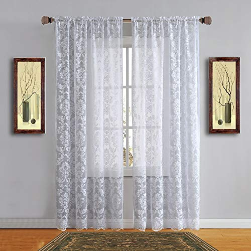 Warm Home Designs Pair of Standard Size 54 Inches Wide x 84 Inches Long White Color Knitted Lace Curtains with Rod Pocket. Drapes Let The Light Flow in While Providing Some Privacy. FI White 84