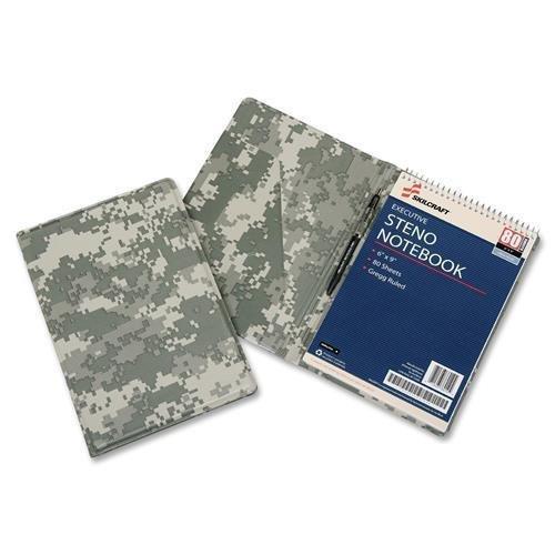 - 7510016008651 SKILCRAFT Steno Notebook Vinyl Pad Holder - Vinyl, LeatherGrain - Camouflage - 1 Each