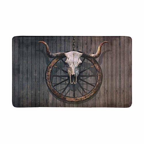 InterestPrint Vintage Bull Skull and Old Western Wagon Wheel on Wooden Wall Doormat Non Slip Indoor/Outdoor Door Mat Floor Mat Home Decor, Entrance Rug Rubber Backing Large 30