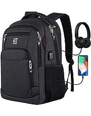 Marcello plecak na laptopa z przyłączem ładowania USB, męski/damski, do pracy, szkoły, na uczelnię, dla chłopców, nastolatków, męski/damski, z kieszenią na laptopa i kieszenią antykradzieżową (na komputer o przekątnej ekranu 15,6 cala, czarny)