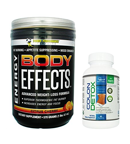 Body Effects + 1 FREE Colon Detox - CITRUS CHERRY Power Performance Products - Pre Workout Ultimate Weight Loss, Fat Burning, Energy Boosting, Appetite Suppressing, Mood Enhancing & Muscle-Defining