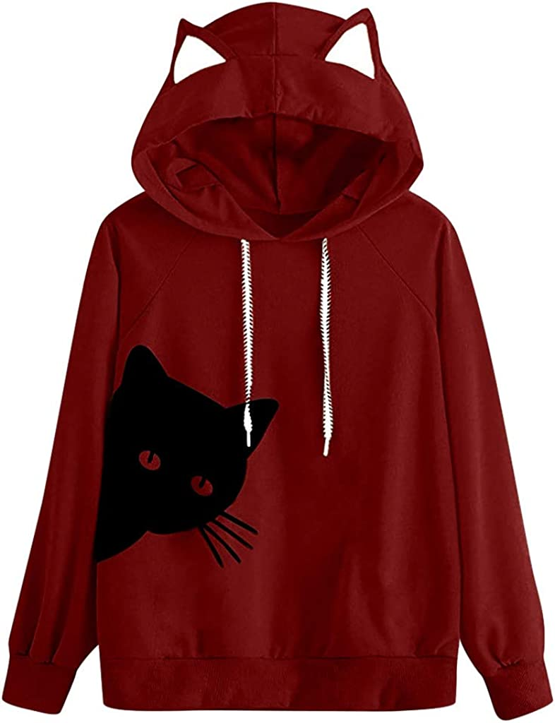 Womens Fashion Long Sleeve Print Cat Ear Hoodie Sweatshirt Pullover Blouse New