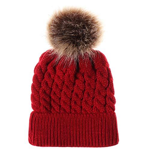 XYX Toddlers Baby Girls Boys Winter Hat Scarf Woolen Earflap Hood Warm Skull Knit Caps (Wine red)