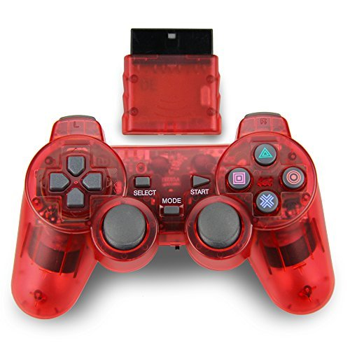 Wireless Game Controller, Double Shock Gamepad for Sony PS2 Playstation 2 (Clear (Logitech Ps2 Wireless Controller)