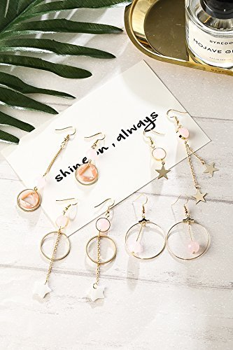 Generic Geometric_stars_triangular_love_ Bow Tie _round_ earrings Earring eardrop _Korean_style wild_asymmetrical ear Nail Ring length_of ear (Korean Style Earrings)
