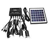 ECO-WORTHY 4W Solar Panel with 3 LED Light Lamp USB 6V Cell Mobile Phone Charger Home System Kit Garden Pathway Stair Camping Fishing Outdoor