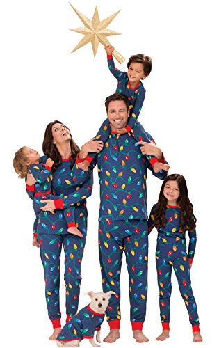 PajamaGram Matching Christmas Pajamas for Family - Blue, Men's, LG]()