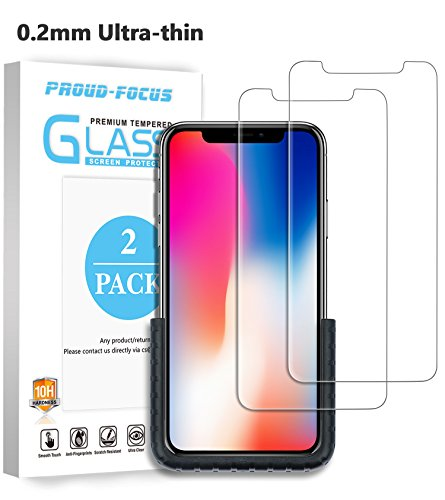 iPhone X Screen Protector, Tempered Glass Screen Protector for Apple iPhone X/10, 0.2mm Ultra-thin Twice Tempered, Application Fixture, Super Strong 10H Hardness, Anti-bubbles, 2 PACK by Proud Focus by Proud Focus