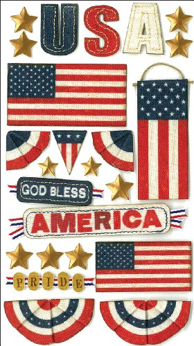 Jolee's Boutique Dimensional Stickers, God Bless America