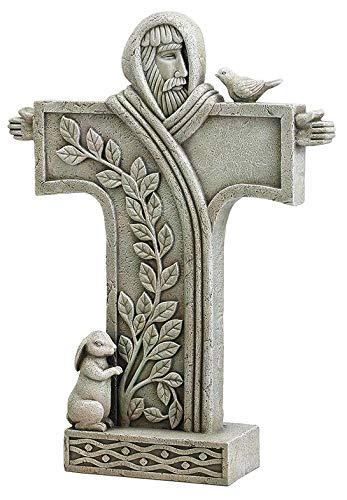 Woodington's Avalon Gallery Saint Francis of Assisi Cross 18 Inch Outdoor Garden Statue