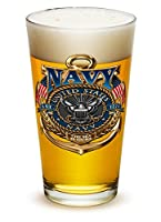 Pint Glasses – United States Navy Gifts for Men or Women – US Navy American Beer Glassware – The Sea Is Ours Glass with Logo (16 Oz)