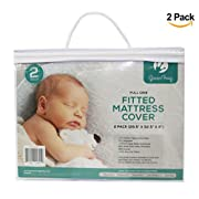 2 PACK Padded Waterproof Mattress Cover | Fits Full Size Cribs | Waterproof & Dryer Friendly | Premium Microfiber Fitted Crib Protector | Comfortable & Hypoallergenic | by Green Frog