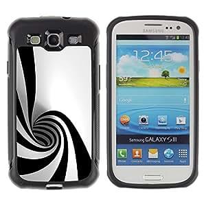 All-Round híbrido Heavy Duty de goma duro caso cubierta protectora Accesorio Generación-II BY RAYDREAMMM - Samsung Galaxy S3 I9300 - Black White Hypnotic Shape Tunnel Art Psychedelic