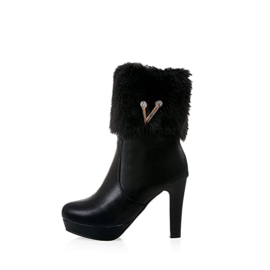 Women's Sweet Faux Fur Solid Zipper High Heel Boots