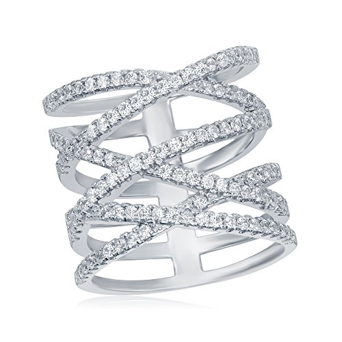 925 Sterling Silver Long 'X' Criss Cross Ladies CZ Ring, Cubic Zirconia Stones, Size 6' 7' 8' 9' ()