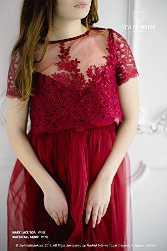 Wine Mary Lace Top, Wine Red Lace Prom Tops, Bridesmaids Crop Top, Lace Evening Engagement Blouse -