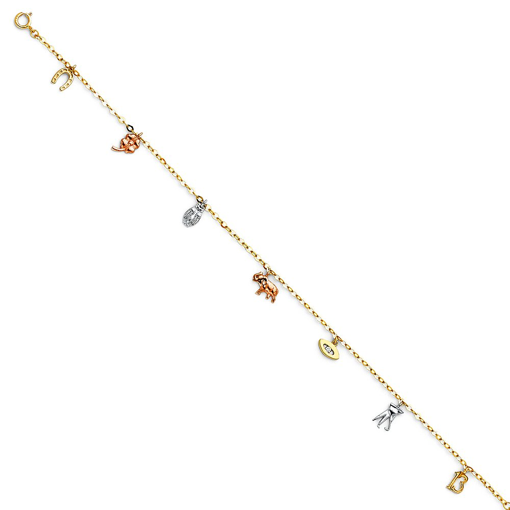 Wellingsale 14k Tri 3 Color Gold Polished Lucky Chain Anklet - 9+1''