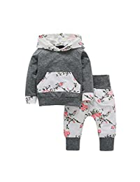 Lisin 2pcs Toddler Infant Baby Boy Girl Clothes Set Floral Hoodie Tops+Pants Outfits