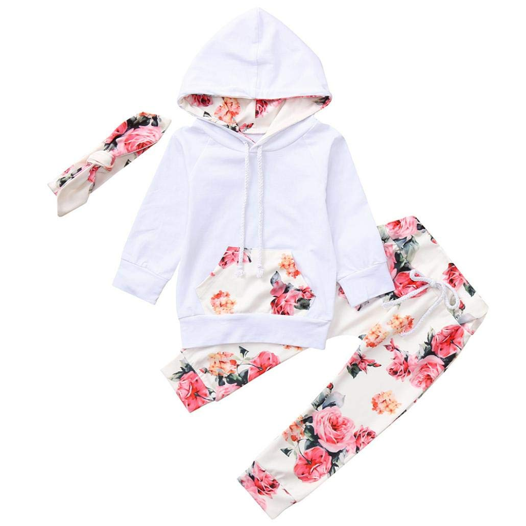 Sagton Baby Girl Boy Clothes Sets, Long Sleeve Hooded Tops with Pocket Floral Print Pants Headbands