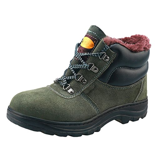 NiSeng Mens Lace Up Steel Toe boots for Winter Lightweight Safety Boots Protective Footwear Work Shoes Green vDGUcD