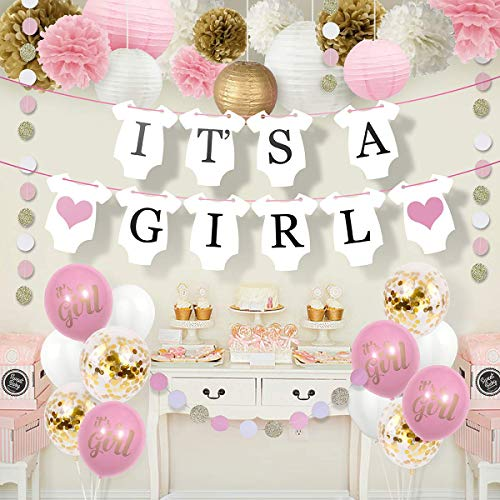 Sweet Baby Co. Baby Shower Decorations For Girl With It's A Girl Banner, Paper Lanterns, Paper Flower Pom Poms, Confetti Balloons, Paper Garland (Pink, Gold and White) | Baby Shower Decorations Set]()