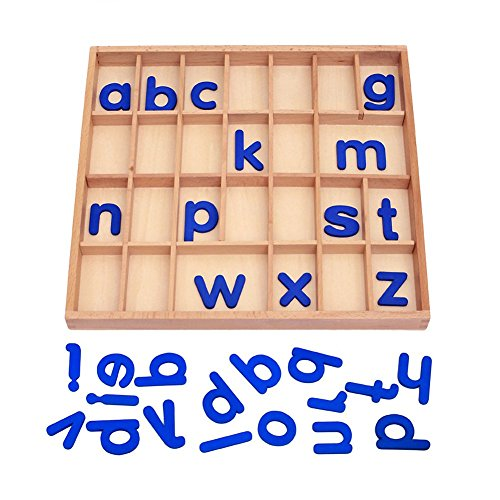 EOFEEL Montessori small Wooden Movable Alphabet with Box for Early Preschool Learning Toy(Blue) by EOFEEL (Image #1)