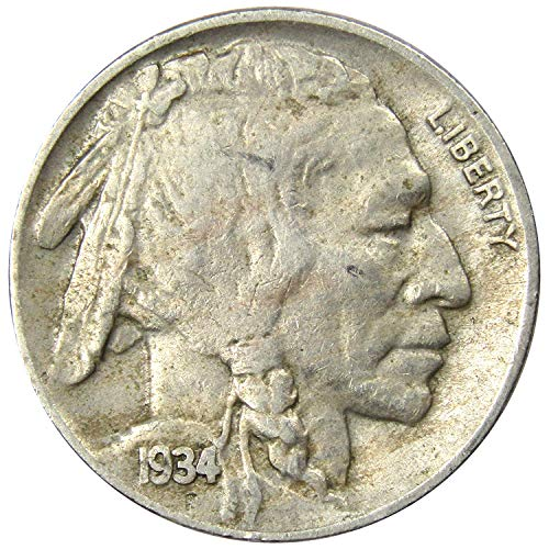 (1934 D Buffalo Nickel 5C Very Good or Better )