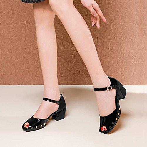 Verni Noir Femme Noir Creux Rivets Baotou Moyen en UK6 Escarpin Cuir Noir Chaussures Sandales CN39 Fish MUMA EU39 Taille Couleur Orange À Mouth Talons nIUfAI0g
