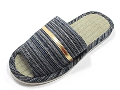 KNP21301T-Mens Strip Indoor Tatami Bamboo Slippers/L(9-10),GRAY