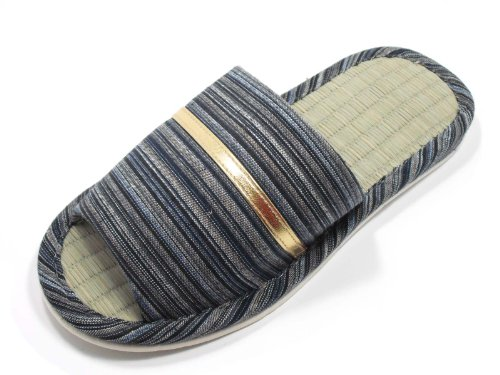 KNP21301T-Mens Strip Indoor Tatami Bamboo Slippers Available three colors and four sizes