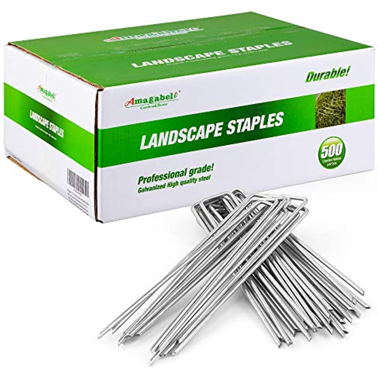 Amagabeli 8 Inch Galvanized Landscape Staples 500 Pack Garden Stakes Heavy-Duty Sod Pins Anti-Rust Fence Stakes for Weed Barrier Fabric Ground Cover Dripper Irrigation Tubing Soaker
