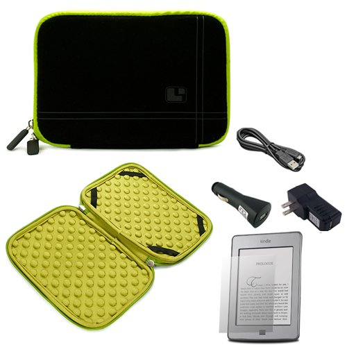 Black with Green Trim Smart Aero Protection Design Slim Soft Suede Cover Carrying Sleeve Case with Extra Accessory Back Pocket for Amazon Kindle Touch (Wi-Fi, 6'' E ink Display) + a USB Car Charger + a USB Home Charger + a USB Data/Sync Cable by Amazon Kindle Touch