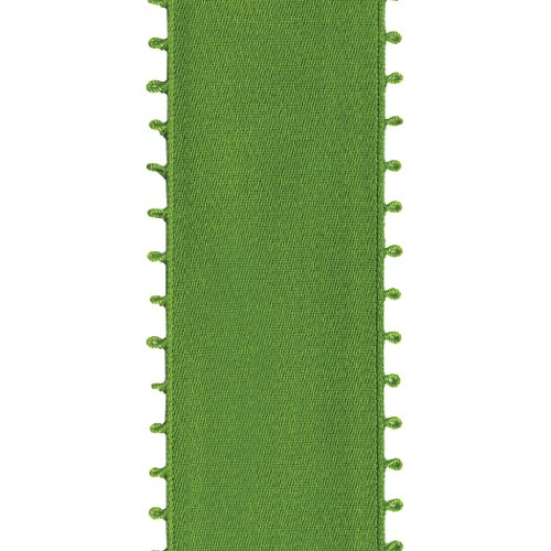 Offray Picot Double Face Satin Craft Ribbon, 1-1/2-Inch Wide by 10-Yard Spool, Kiwi