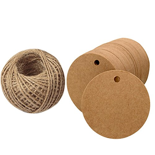 Round Twine (Kraft Paper Round Gift Tags,Brown Gift Wrap Tags with String,Blank Hang Gift Tag,KINGLAKE 100 Pcs 5.5cm Wedding Craft Tags with 100 Feet Natural Jute Twine (Brown))