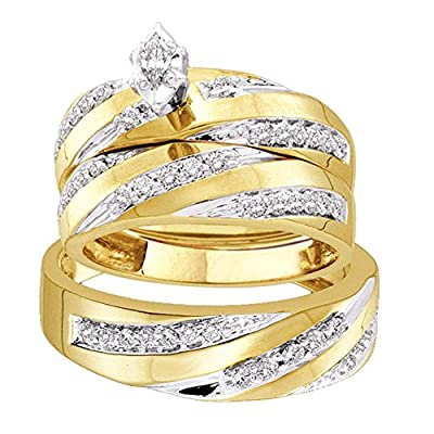 Jewels By Lux 10kt Yellow Gold His & Hers Marquise Diamond Solitaire Matching Bridal Wedding Ring Band Set 3/4 Cttw (I2-I3 clarity; J-K color)